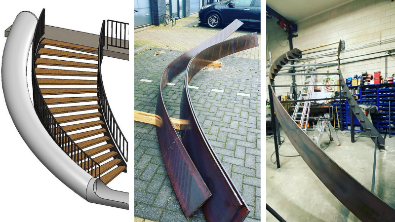Glijbaan met trap in de maak door Mikkers Special Constructions